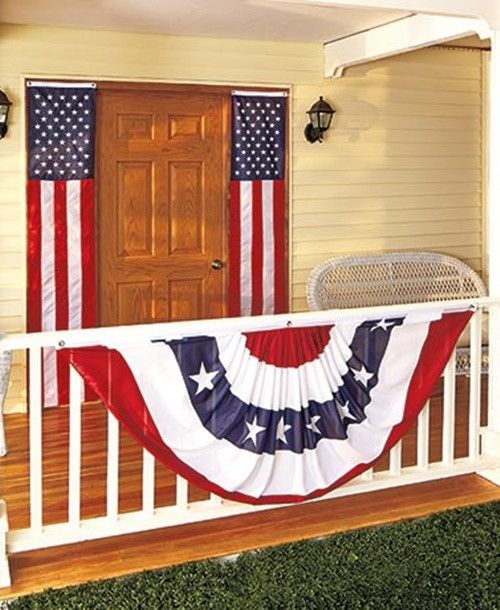 """Patriotic Door Flags and Over-sized Bunting Set ~ This Patriotic Door Flags and Over-sized Bunting Set covers your home in red, white and blue. Perfect for indoor and outdoor decorating, each piece has metal grommets for easy hanging. The Set of 2 Door Flags (18""""W x 98""""L, each) features fabric-magic strips that allow you to adjust each flag's length. Nylon. Adorn a porch, table, patio, doorway or overhang with the Over-sized Bunting (35""""W x 75""""L)."""