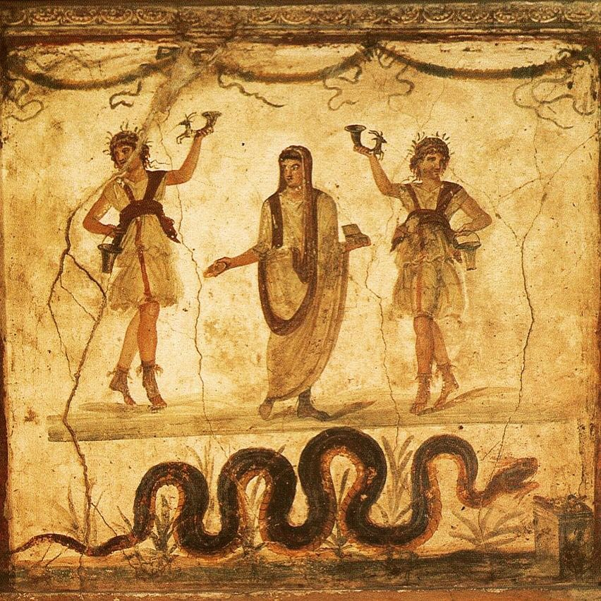Genius of Place and Lares. Fresco in the lararium of the House of the Vettii in #Pompeii Genio del Luogo e Lares. Affresco nella larario della Casa dei Vettii in #Pompei Click I Like and share the Page www.facebook.com/ScavidiPompei #pompei #vesuvio #mosaic #scavidipompei #pompeiiruins #italy #ancient #archeology #herculaneum #faunopompei Looking for a cozy bed and breakfast near the ruins? I suggest the B&B Pompei Il Fauno www.bbfauno.com
