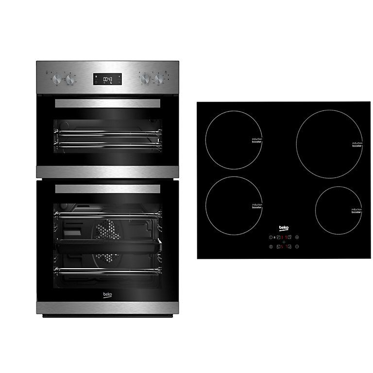 Beko Double Oven Induction Hob Pack Diy At B Q Double Oven Multifunction Ovens Induction Hob