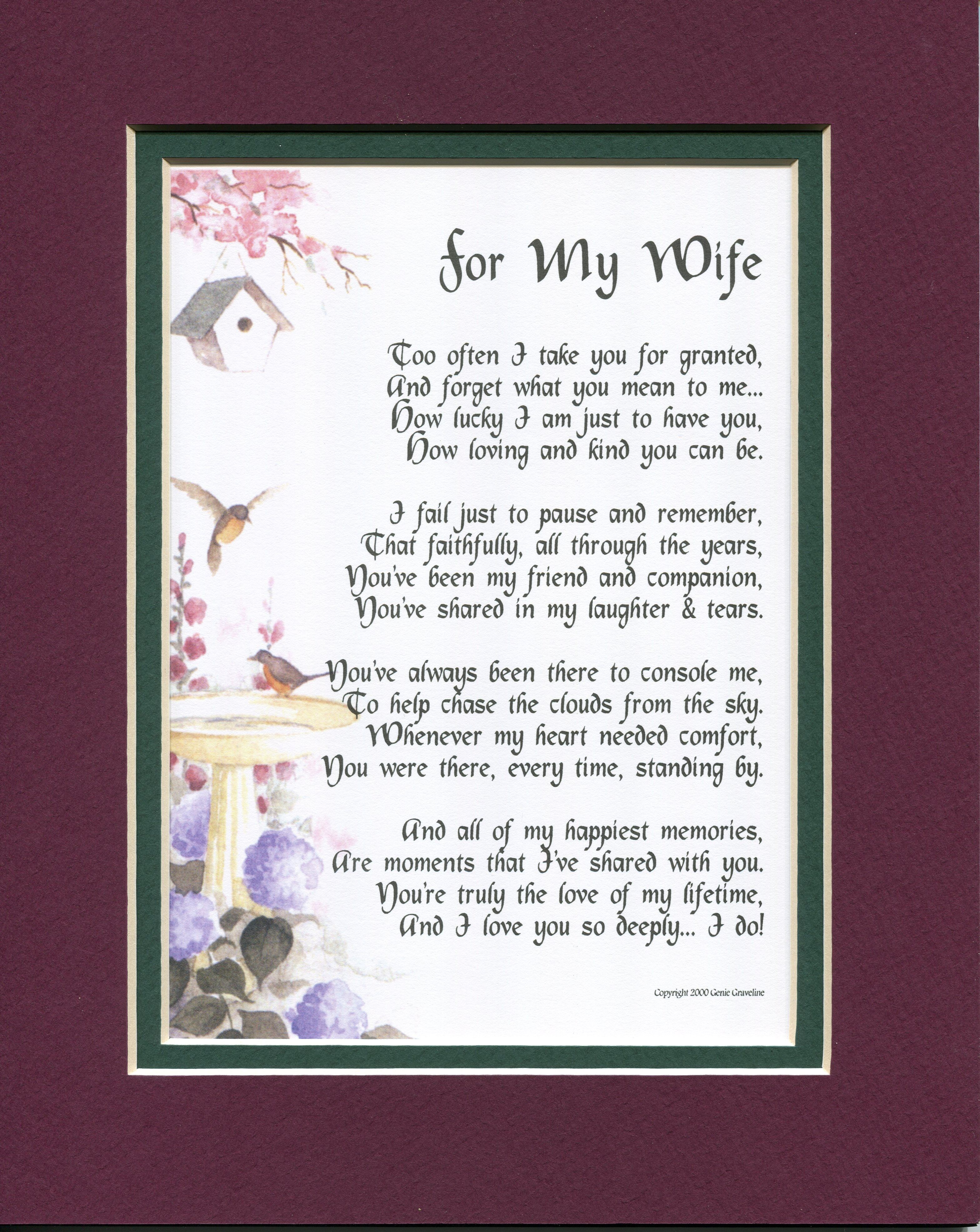 """For My Wife"" A Sentimental Gift for the one you love, A"