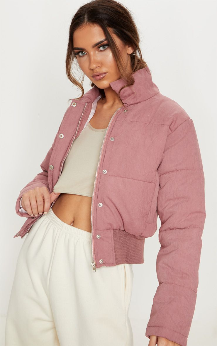 Pink Peach Skin Cropped Puffer Jacket Cropped Puffer Jacket Clothes Puffer Jackets [ 1180 x 740 Pixel ]