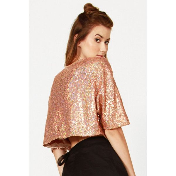 Copper Sequin Top ❤ liked on Polyvore featuring tops, 3/4 length sleeve tops, 3/4 sleeve tops, copper top, three quarter sleeve tops and boxy top