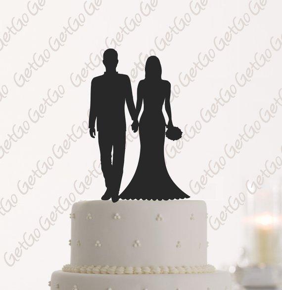 Wedding Cake Topper Silhouette Bride Groom With Last Name Etsy Wedding Cake Topper Silhouette Wedding Cake Toppers Silhouette Cake Topper