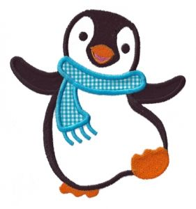 Winter Green Embroidered Iron On Applique Patch Penguin Bird