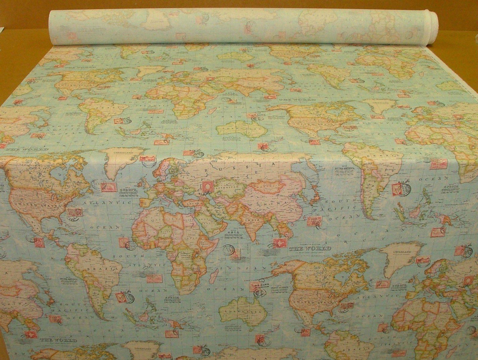 3 metres vintage atlas world map ocean blue linen look curtain 3 metres vintage atlas world map ocean blue linen look curtain upholstery fabric amazon gumiabroncs Choice Image