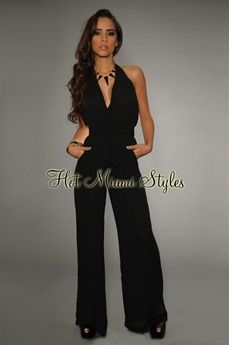 $52.99 Black Plunging Halter Jumpsuit