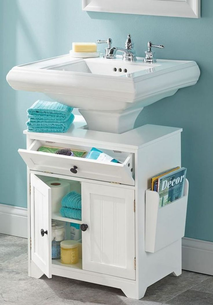 18 Space Saving Ideas For Your Bathroom Living In A Shoebox Small Bathroom Storage Pedestal Sink Storage Diy Bathroom Storage