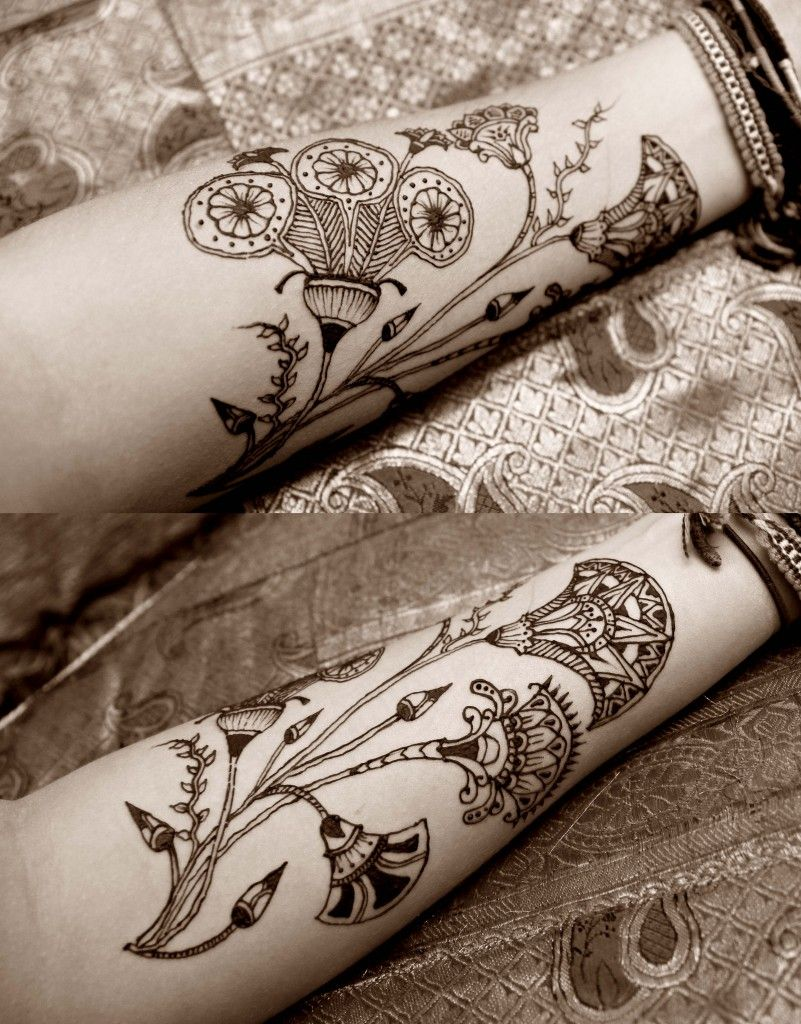 45edcc340 finally finding some inspiration for my tattoo. not necessarily the flowers,  but the Egyptian motif. this is henna btw