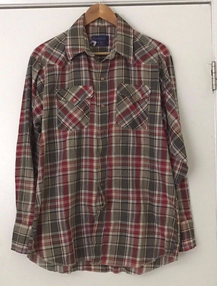 842cbcf5 Panhandle Slim Mens Western Shirt Large Green/Red Plaid Red Pearl Snap  Buttons #PanhandleSlim #Western