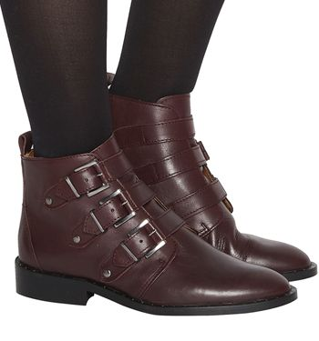 Office, Lock Down Studded Buckle Boots, Burgundy Leather