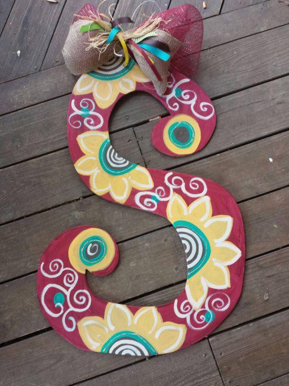 I-Hand Painted Custom Wooden Letter Door Hanger