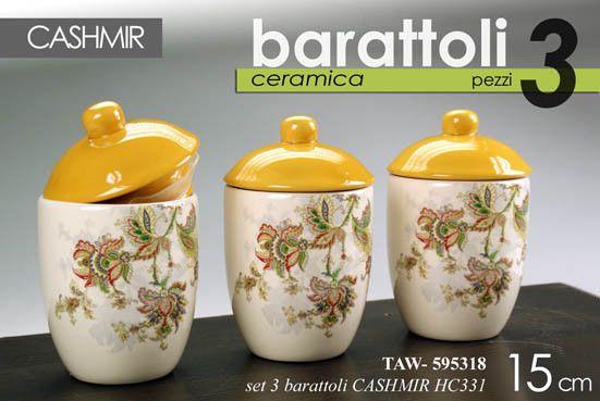 Tris set 3 barattoli h15 cm cucina ceramica giallo barattolo cashmir ...