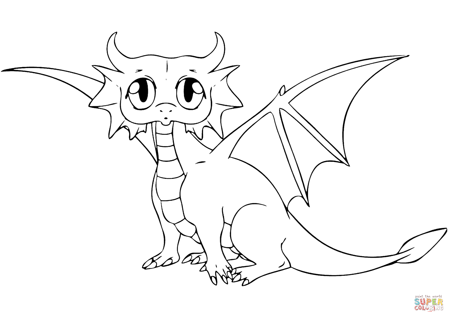 Cute Dragon coloring page from Dragon category. Select from 29508 ...