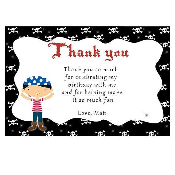Printable Personalized Pirate Thank you Card Notes 1st 2nd 3rd – Personalized Birthday Thank You Cards