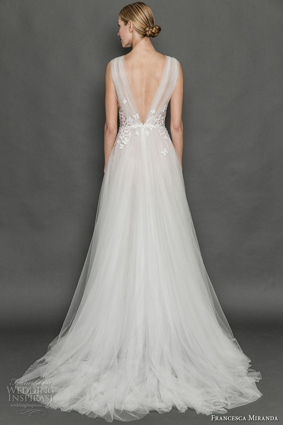 Francesca miranda fall bridal sleeveless thick strap deep v