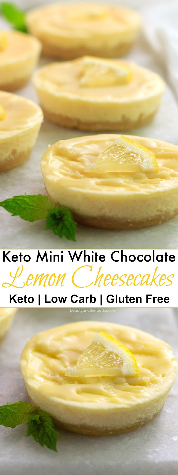 Keto White Chocolate Lemon Cheesecakes