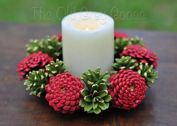 051746e30c36 ETSY Christmas Wreath   Candle Ring   Candle Wreath   Pine Cone ...