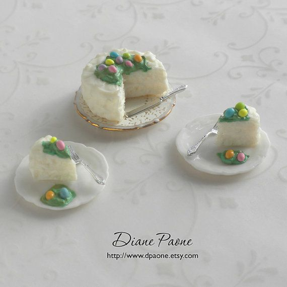 Easter Cake Dollhouse Miniature White cake with candy by dpaone, $32.00