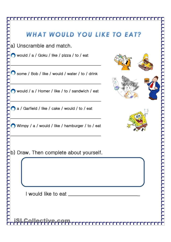 I would like to eat Worksheets, Writing skills, Teaching