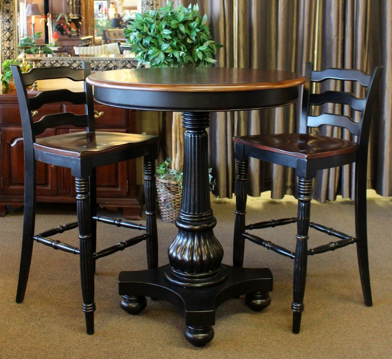 Hooker Pub Style Dining Set Consisting Of Pedestal Table With Black Base  And 2 Bar High