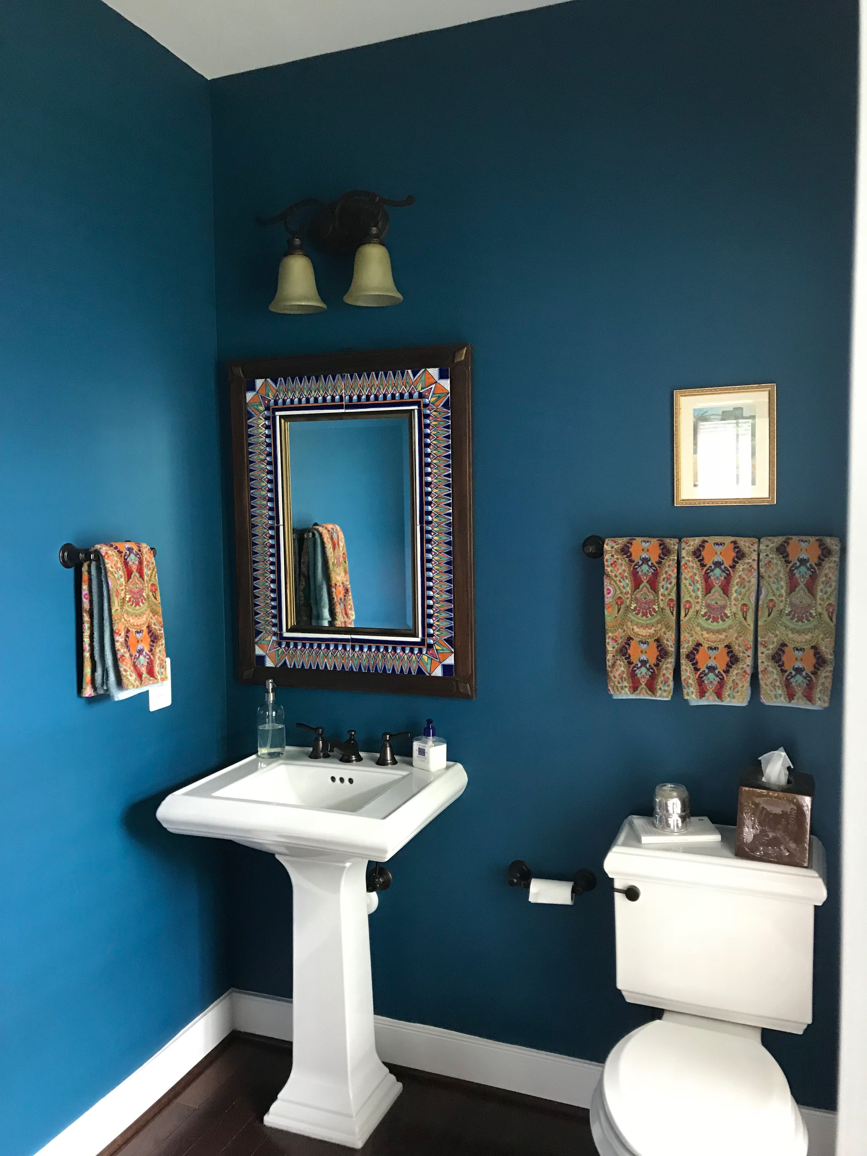 Powder Room Benjamin Moore Slate Teal Bathroom Colors Bathroom Paint Colors Painting Bathroom