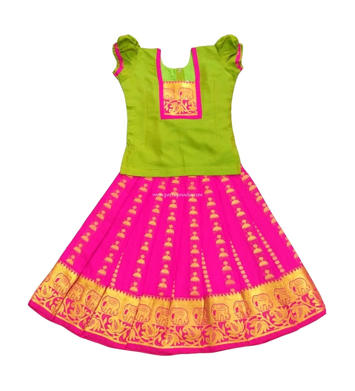 9629f878c7 Fantastic Jhumka silk prints skirt in attractive pink and puff-sleeved top  in parrot green colour.