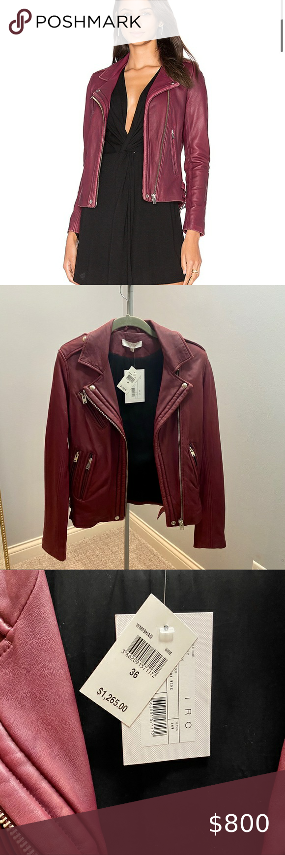 Nwt Iro Han Leather Jacket In Wine Leather Jacket Iro Leather Jacket Lamb Leather Jacket [ 1740 x 580 Pixel ]