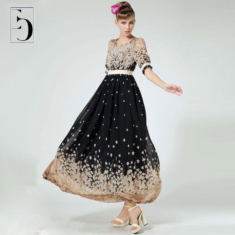 Women Summer Style Plus Size Dress 6XL Chiffon Maxi Beach Dresses ...