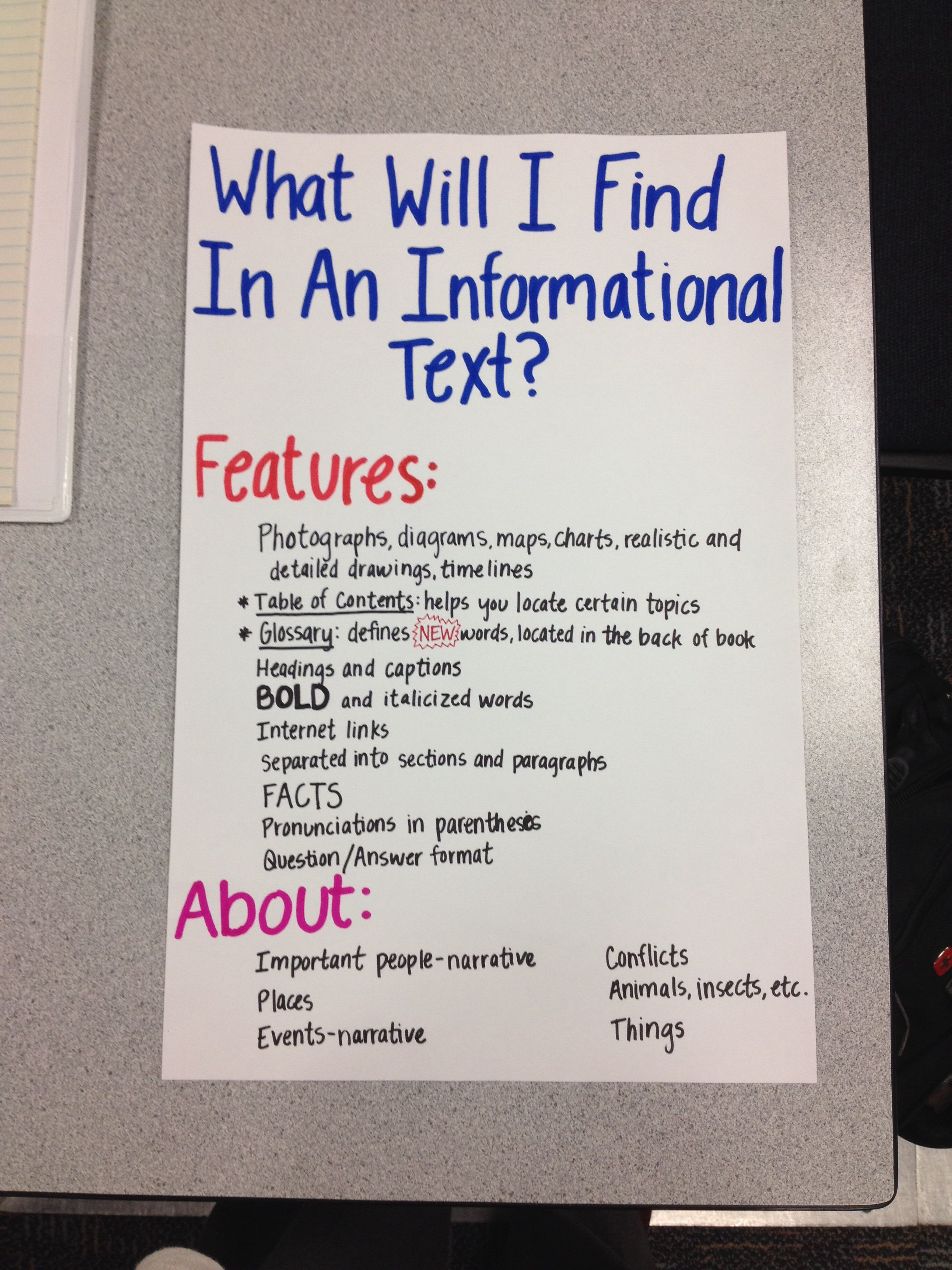 Informational text anchor chart also nonfiction and rh pinterest