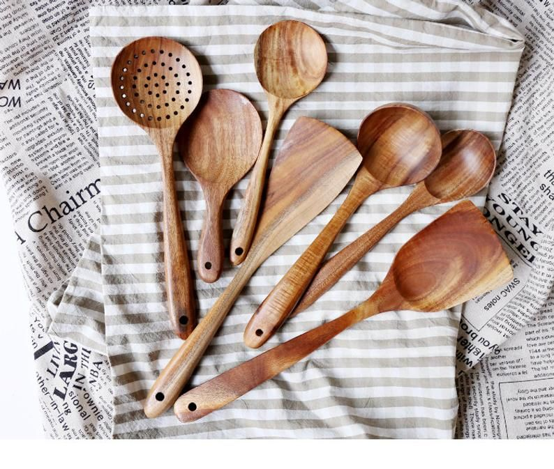 Thailand Teak 7 Piece Kitchen Utensil Set Cooking Utensils Etsy In 2020 Kitchen Utensil Set Kitchen Tool Set Wooden Kitchen Utensils