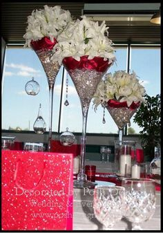 Martini glass with diamonds and red satin baby expectations martini vases for hire photo by posh designs wedding event supplies sydney nsw junglespirit Choice Image