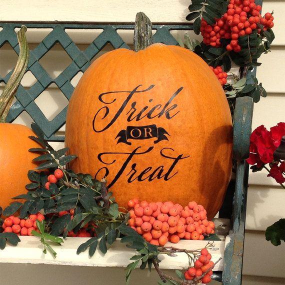 Fall Pumpkin Decal - Trick or Treat - Vinyl Wall Decal Halloween Decor…