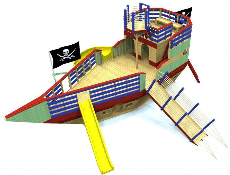 large, 3 level pirate ship playset plan with gang plank ...