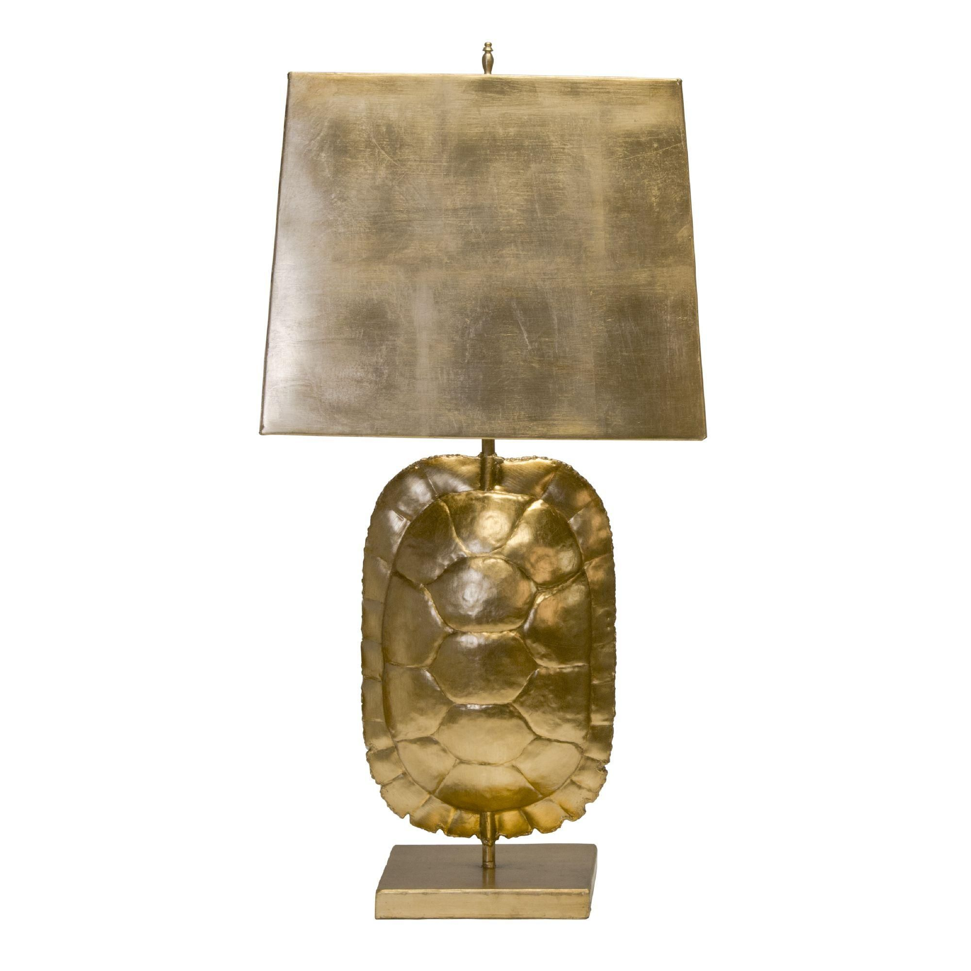 Gold Leaf Tortoise Shell Lamp With Rectangular Metal Shade Gold Turtle Lamp Table Lamps For Sale Shell Lamp Tortoise Table
