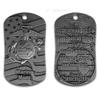 Marine Mom dog tag with a Bible verse to get you through all the hard times, boot camp and deployment