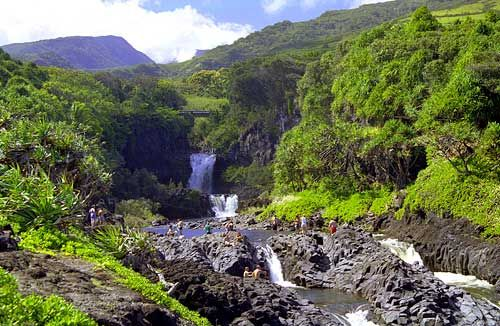 Oheo Gulch Seven Sacred Pools Lies Beyond Hana Town In The Kipahulu District The Lower Pools Are Superb Places To See Haleakala National Park National Parks