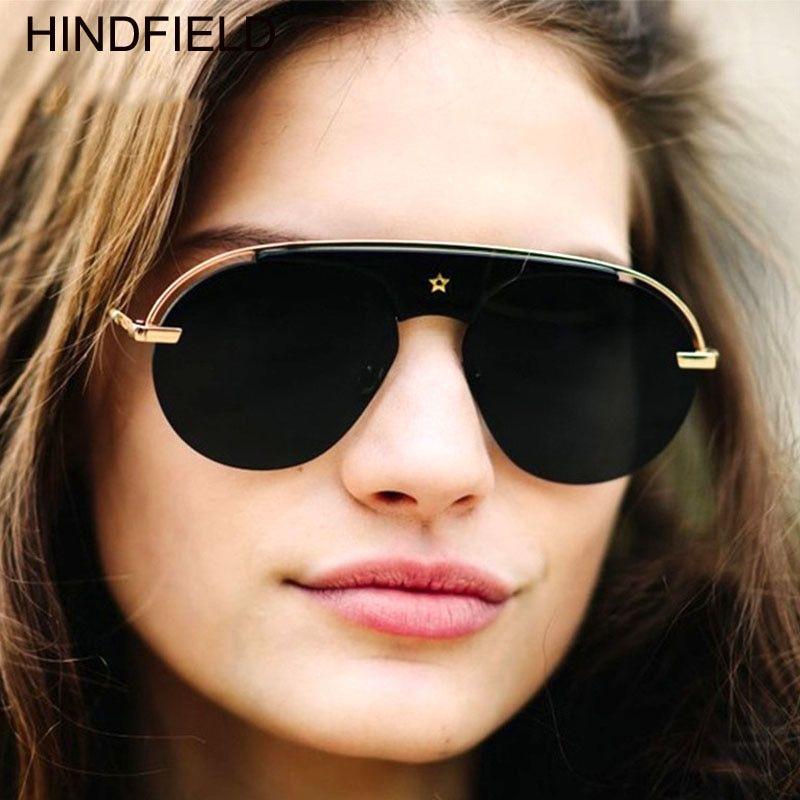 d88867b2a8 2018 New Rimless Sunglasses Women Brand Designer Flat Top Mirror Sun Glasses  Superstar Black Pink Eyewear Female Oculos UV 400