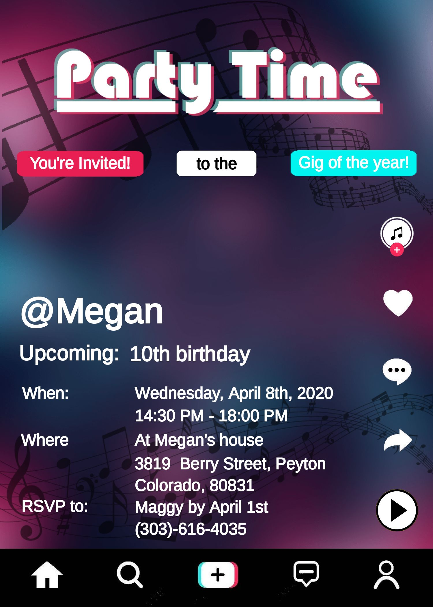 Tik Tok Inspired Birthday Invitation Unique Tik Tok Editable Birthday Invitation Template Edit Online Direct Download Easy Printable Jpeg Birthday Invitation Templates Birthday Invitations Birthday Party For Teens
