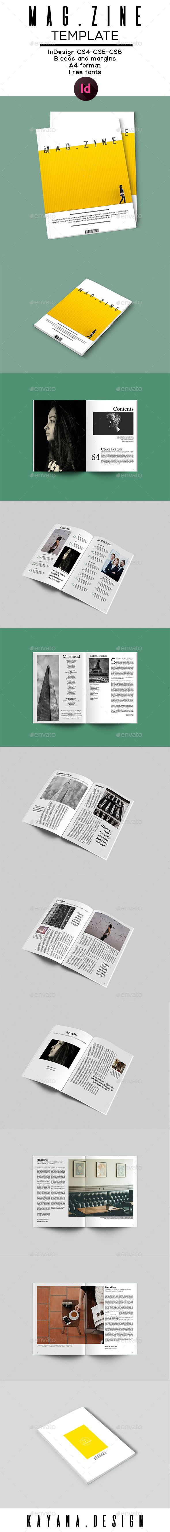 Mag.zine A4 Magazine Template | Zine, A4 and Template