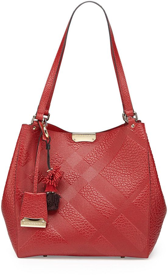 237fca9db120 Burberry Check-Embossed Tassel Tote Bag