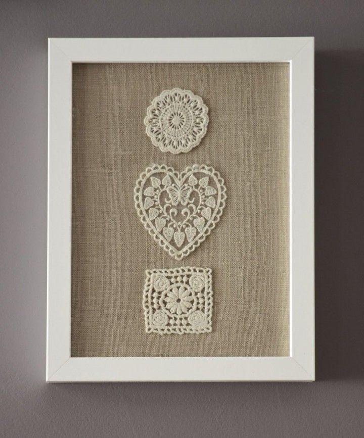 Beautiful DIY Handmade Framed Burlap With Floral Embroidery Wall Art Decor  Ideas   More Inspiring