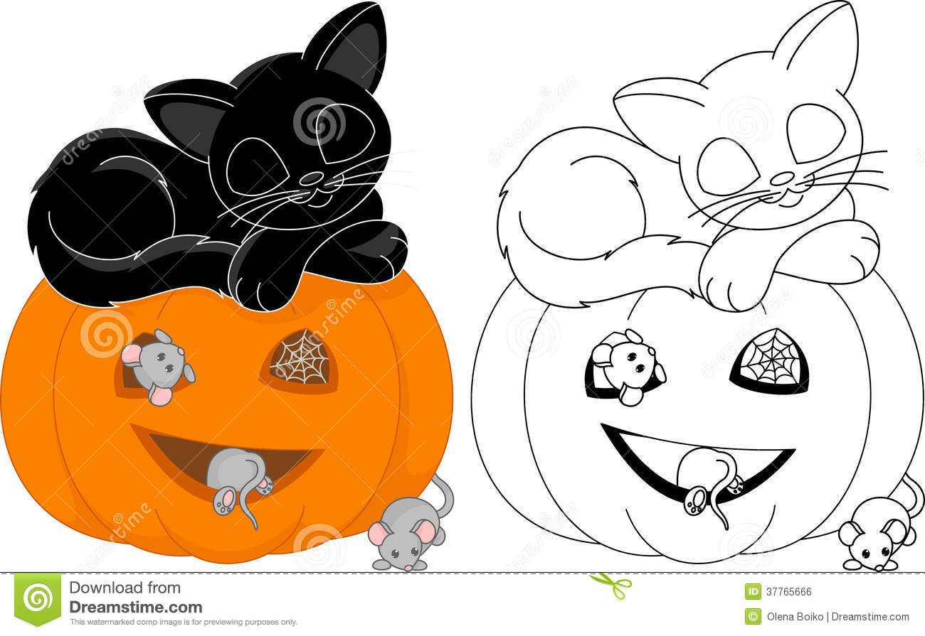 Halloween Coloring Page Cat Sleeps Pumpkin Mice 37765666.