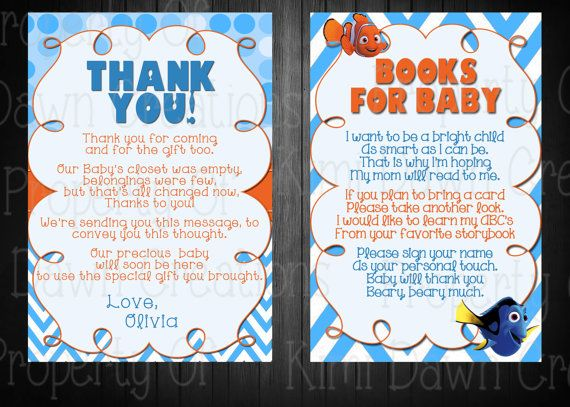 Finding Nemo Baby Shower Supplies Thank You Card: 4x6 Or 5x7 Will Need Name  Candy