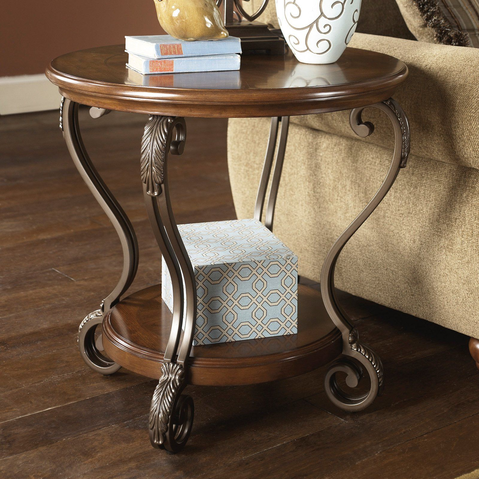 Remarkable Signature Design By Ashley Nestor Brown Round End Table Beutiful Home Inspiration Semekurdistantinfo