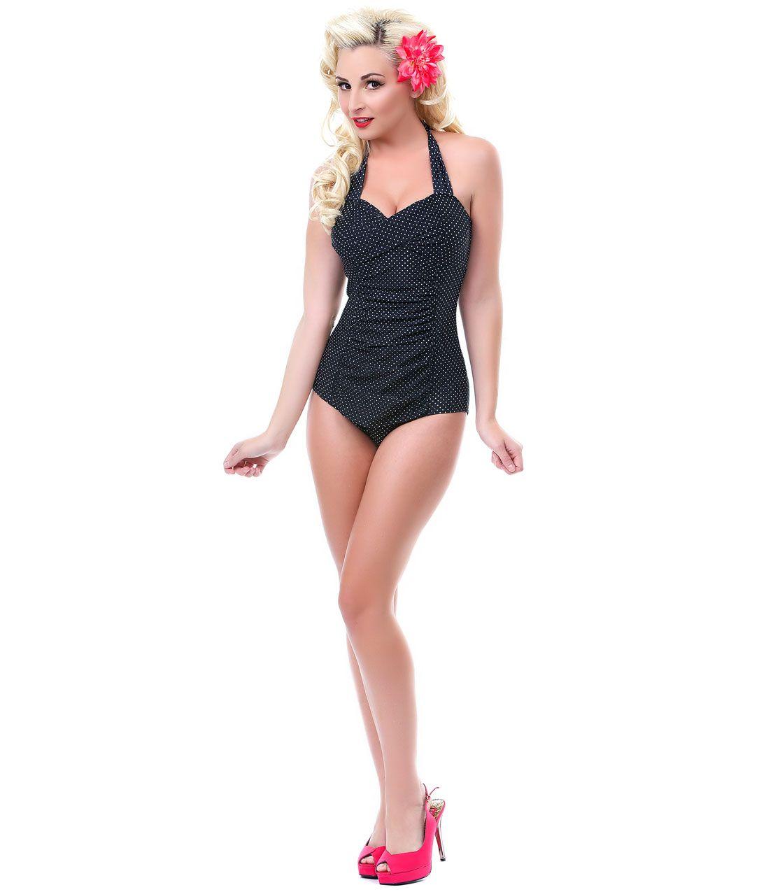 8a57a996d421d Black   White Betty One Piece Retro Bathing Suit