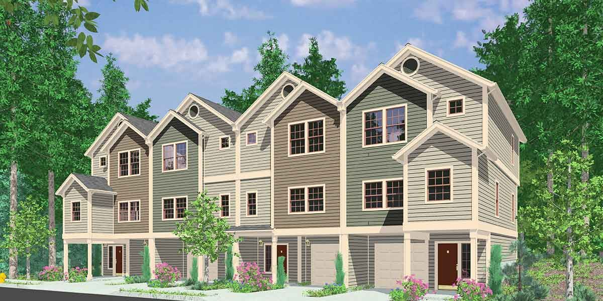 Four-Plex House Plans, 4 Unit Multi Family House Plans, F-558