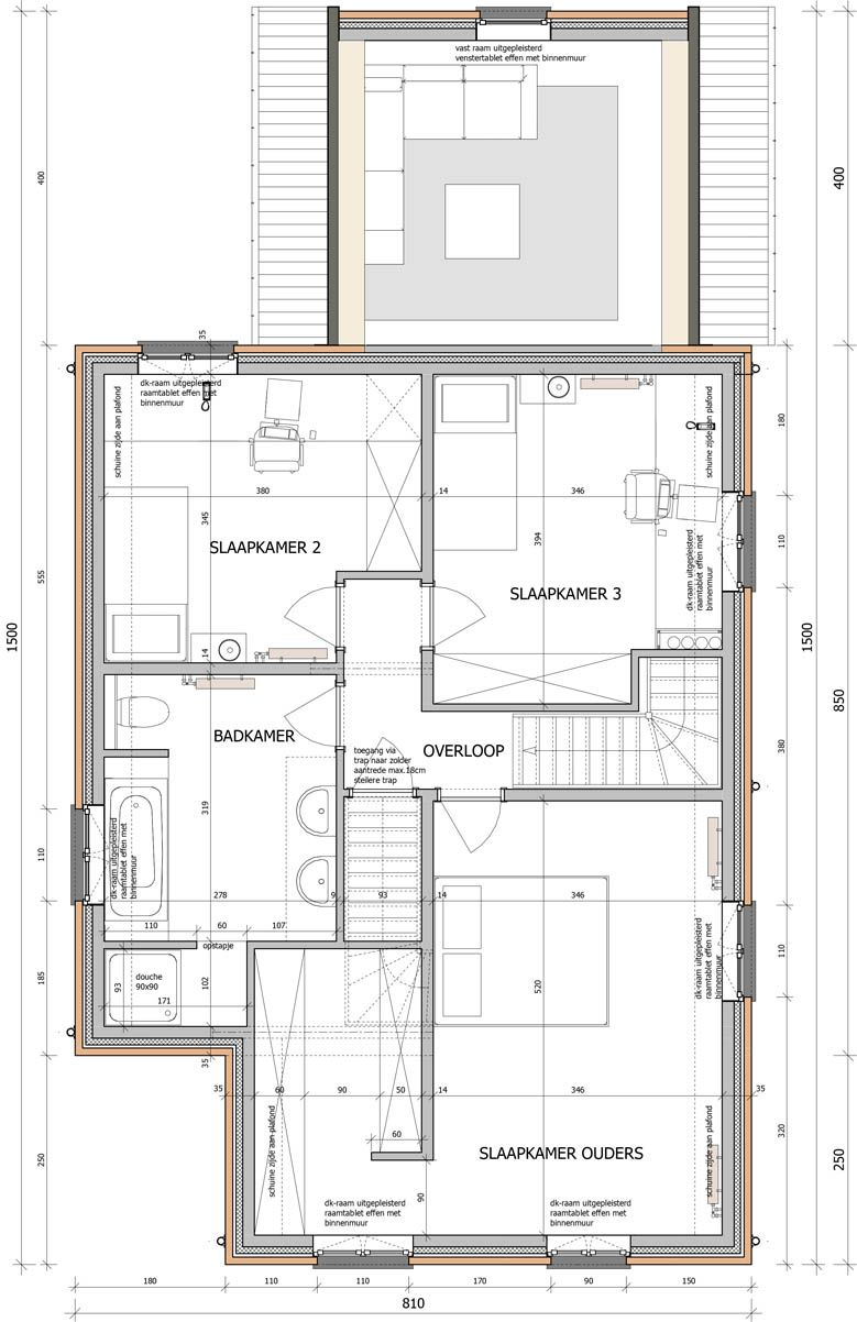 Plattegrond van een woning op de eerste verdieping. huyzentruyt.be ...