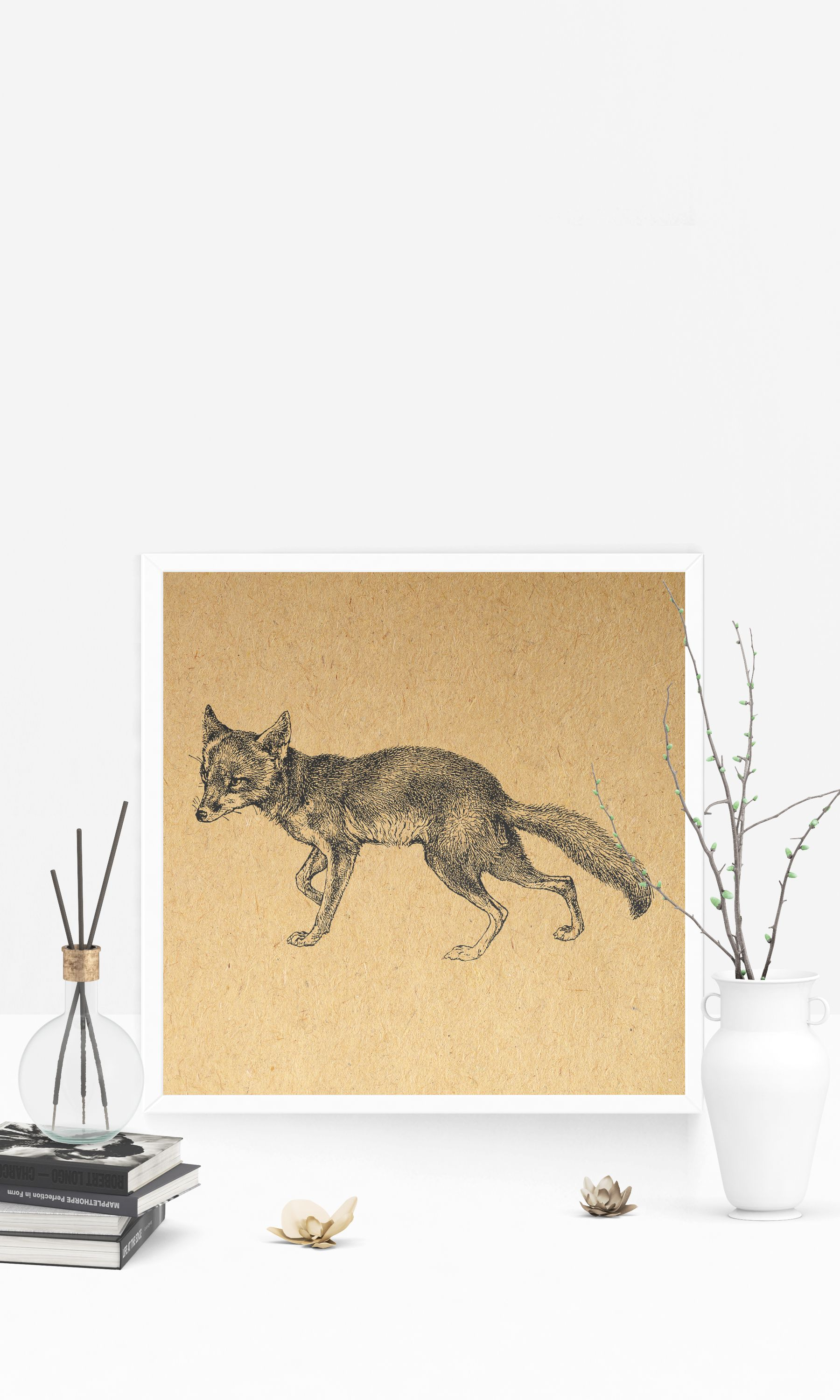Vintage Fox Wall Art Antique Animal Artwork Home Decoration ...
