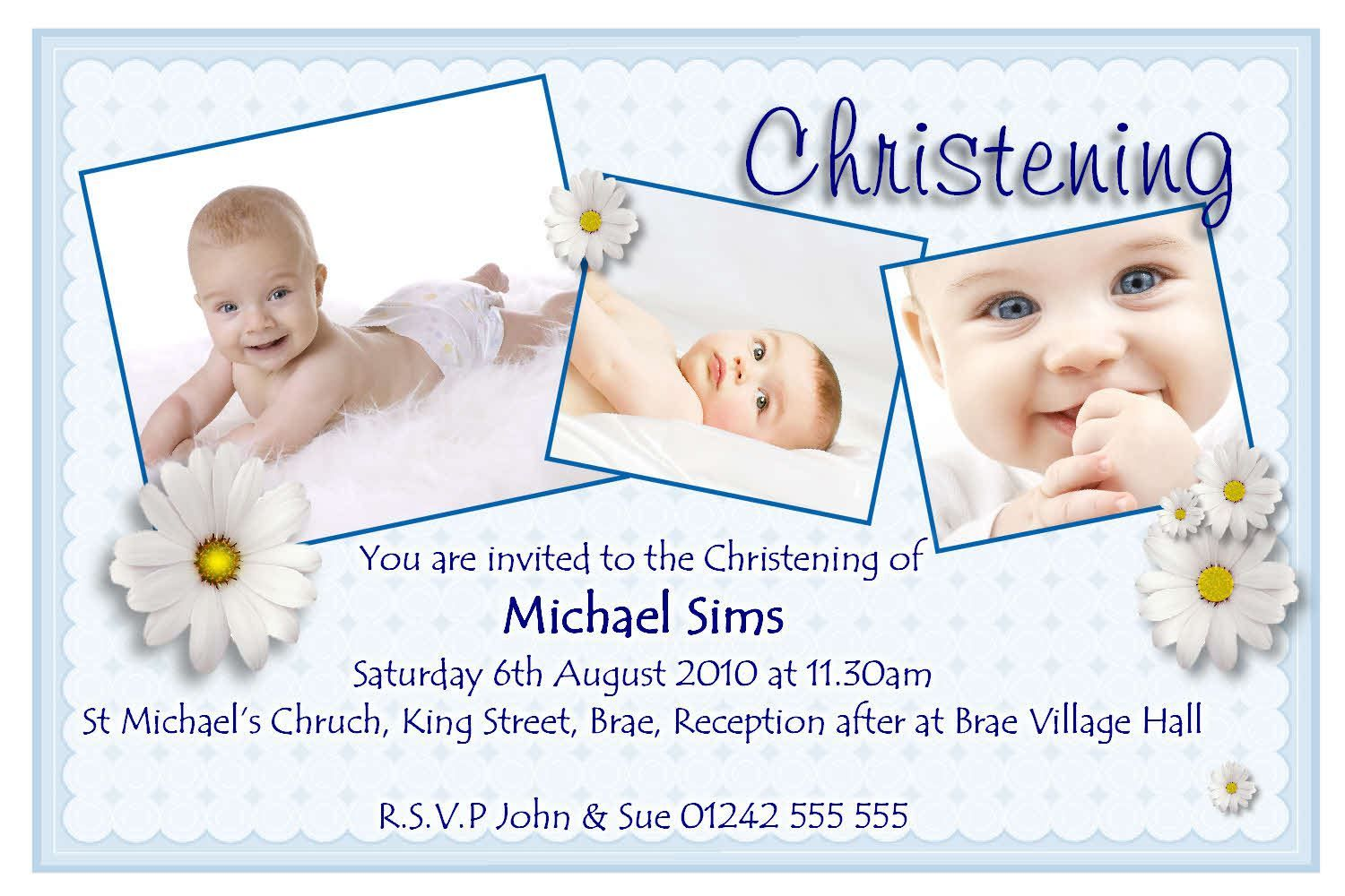 Invitation Card For Christening Invitation Card For