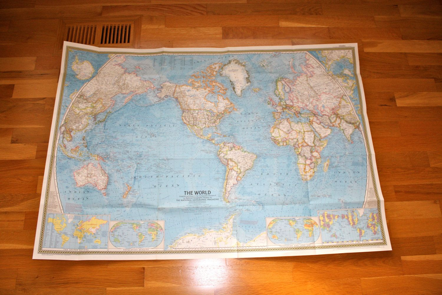 Vintage 1965 national geographic world map poster art volume 127 no 2 gumiabroncs Image collections